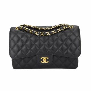 CHANEL Classic Double Flap Jumbo Black Caviar Gold Hardware