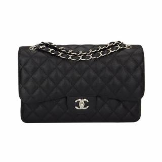 CHANEL Classic Double Flap Jumbo Black Caviar Silver Hardware