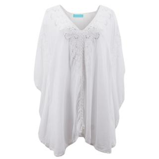 Melissa Odabash White Embroidered Kaftan Dress