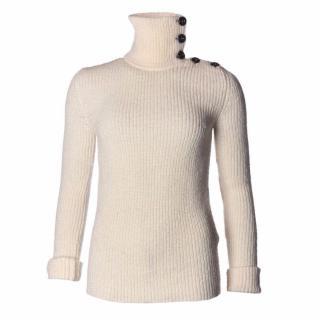 Balenciaga white cream cable knit sweater top
