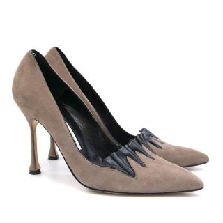 Manolo Blahnik Grey and Black Pleats Pumps