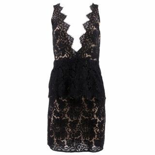 Adriana Minari Black Lace Peplum Dress