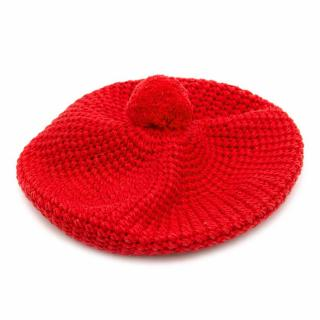 Gucci Red Knitted Cotton Beret