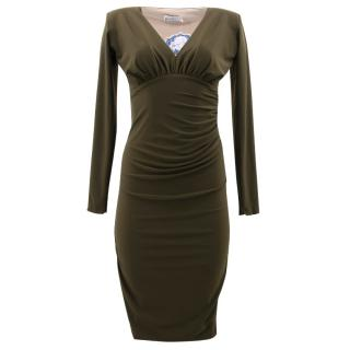 Kevan Jon Khaki Green Ruched Dress