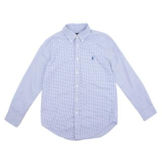 Ralph Lauren Boys White and Blue Squares Shirt