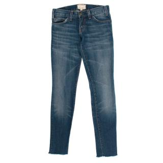 Current/Elliott Blue Skinny Raw Hem Jeans