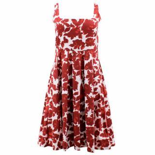 Caroline Herrera Red and White Floral Dress