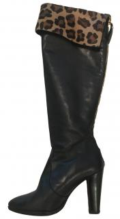 Stuart Weitzman Black Leather Fold Over Boots
