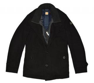 Hugo Boss Black wool full zip thermal coat