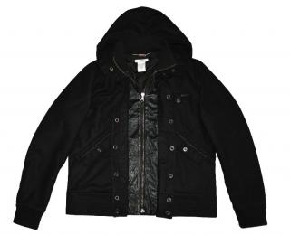 Versace black wool cashmere leather jacket