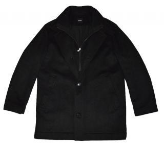 Hugo Boss men's black full zip wool coat
