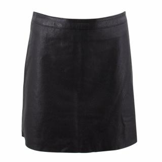 Zadig & Voltaire Deluxe Black Lamb Leather A- Line Skirt