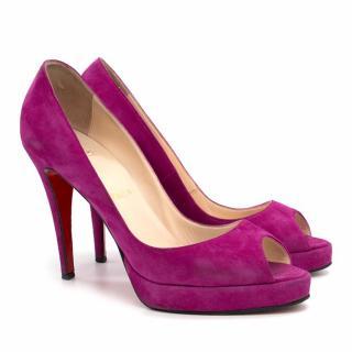 Christian Louboutin Pink Suede Peep Toe Pumps