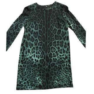 Dolce and Gabanna leopard print long sleeved shift dress