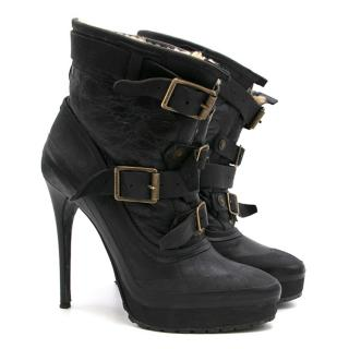 Burberry Prorsum Black Leather and Shearling Boots