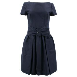 Prada Navy Silk Dress with Belt