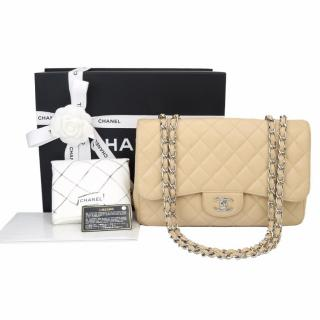 CHANEL Classic Single Flap Jumbo Beige Clair Caviar Silver Hardware