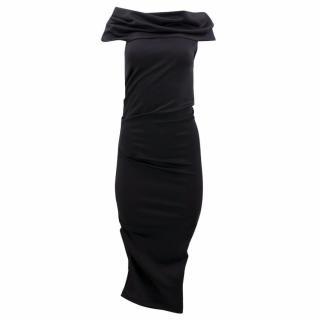 Kevan Jon Black Off the Shoulder Long Dress