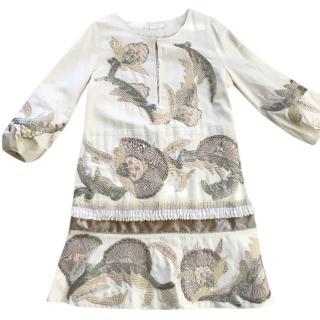 Chloe  embroidered silk shift dress