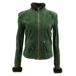 Roberto Cavalli Green Fur Trimmed Leather Jacket