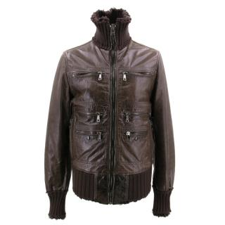 Dolce & Gabbana Brown Leather Jacket