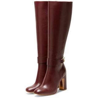 Rupert Sanderson Celeus Prune Leather Heel Knee Boots UK4/EU37