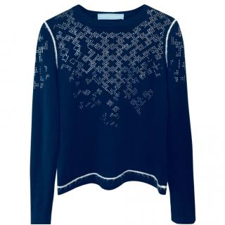 Betty jackson blue jumper with silver snowflake design