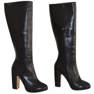 Rupert Sanderson Hennie Black Calf Leather Heel Knee Boots