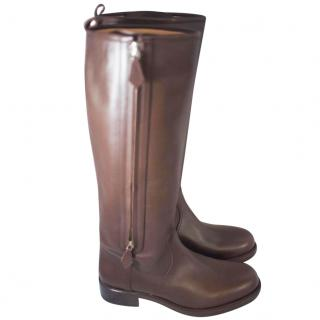 Hermes brown leather riding boots