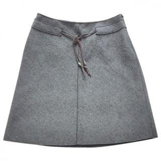 ROSSO35 dark grey wool mix jersey skirt