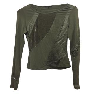 Tara Jarmon green velvet long sleeved top
