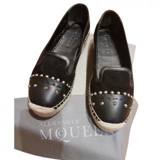 Alexander McQueen black leather espadrilles