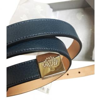 Mulberry navy leather belt 36