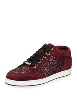 Jimmy Choo Miami glitter and suede low top sneakers
