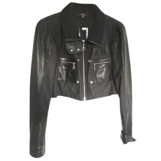 Laurel Black Cropped Jacket with Leather Insets