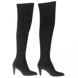 Brian Atwood Thigh high black suede boots