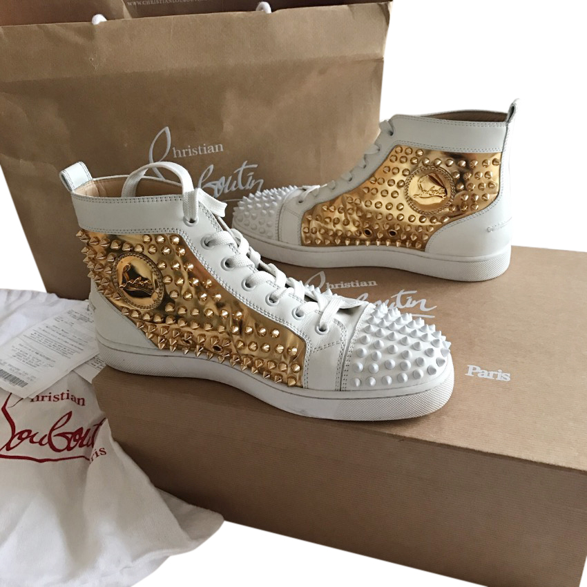 502f514a5d6 Christian Louboutin Louis Flat Spike White Gold Sneakers123132 ...