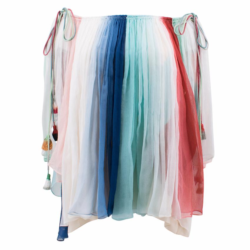 Chloe Multi- coloured Off- the- shoulder Silk Top