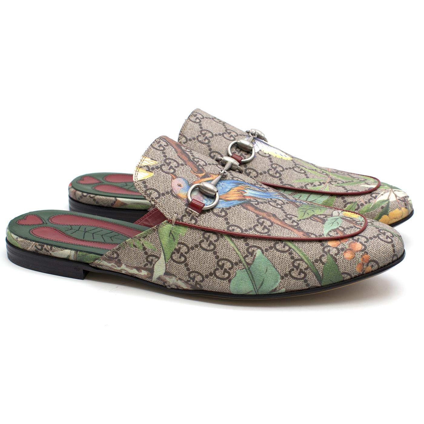 fdab13a57 Gucci Mens Princetown Gg Supreme Tian Print Slippers123451