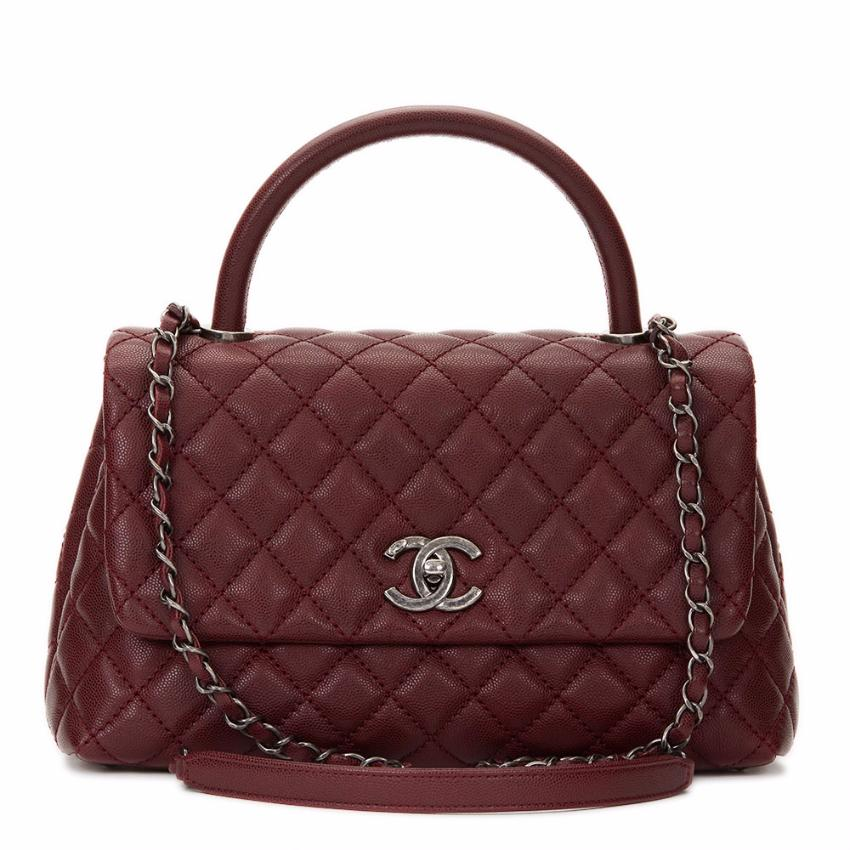 50a0332c9eb1 Chanel Quilted Small Burgundy Coco Handle Bag | HEWI London