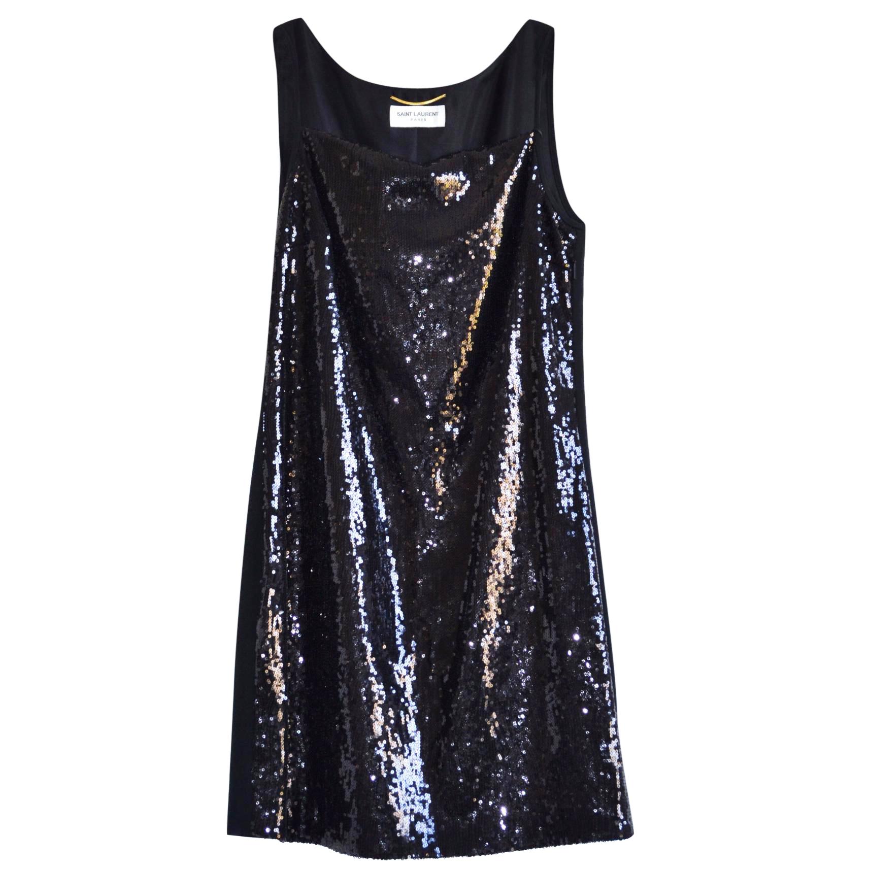Saint Laurent black sequined mini dress