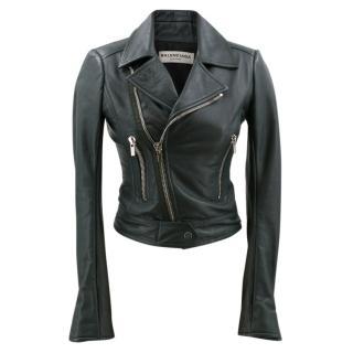Balenciaga Green Leather Biker Jacket