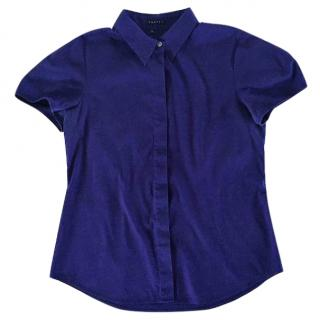 Theory Indigo Blue Cotton Blouse