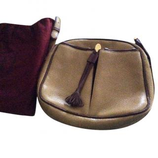 Cartier tan shoulder bag with maroon trim