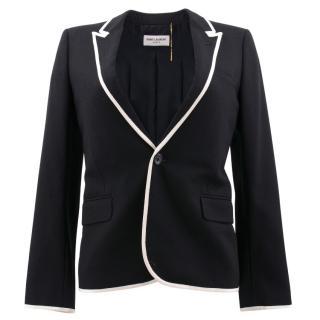 Saint Laurent White Piping Blazer Jacket
