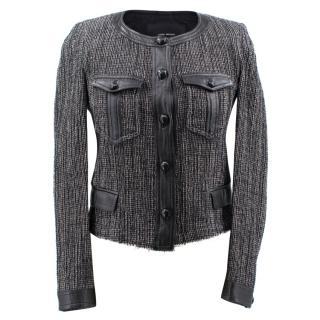 Isabel Marant Grey Tweed and Leather Jacket