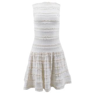 Alaia White Lace Frill Mini Dress
