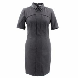 YSL Grey Wool and Leather Dress