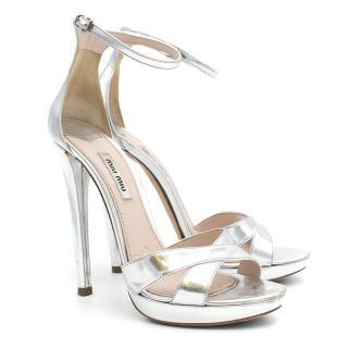 Miu Miu Silver High Heels Sandals