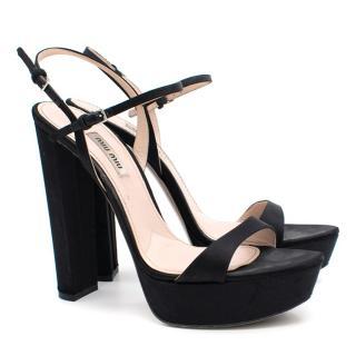 Miu Miu Black Platform Heeled Sandals
